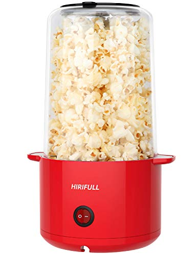 HIRIFULL Popcorn Machine , Stir Electric Hot Oil Popcorn Maker, Popper Popper with Measuring Cup and Oil Scoops, Removable Lid as Serving Bowl , ETL Certified, BPA Free, Great for Daily Life, Family Dinners, Parties, Movie Nights, Red