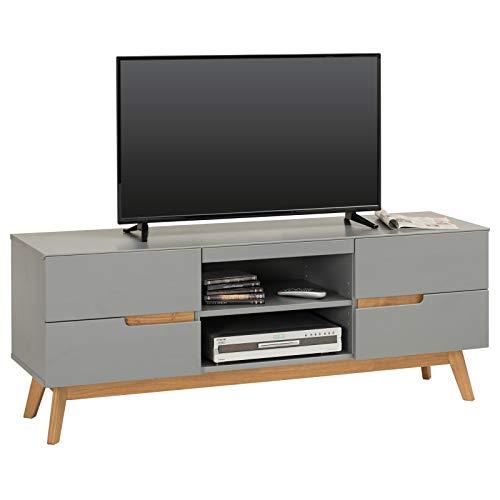 IDIMEX Lowboard TV Möbel Tibor, Fernsehtisch Fernsehschrank HiFi Möbel im nordisch skandinavischen Stil mit 4 Schubladen 1 offenes Fach, Kiefer massiv grau