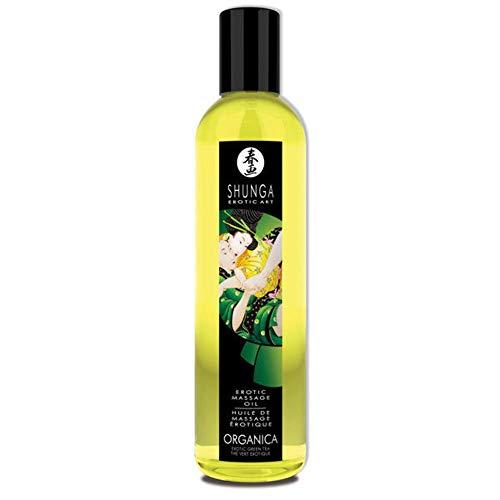 Shunga Aceite Orgánico Exotic Green Tea, Color Amarillo Translúcido - 250 ml