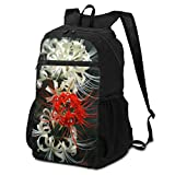 彼岸花 レッド 白い アウトドアバックパック 超軽量 大容量 多機能 収納バッグ 折りたたみ式 防水 ファッション スポーツ 登山バッグ 旅行バックパック ハイキング