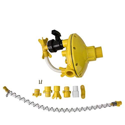 Regulador de presión de agua de alimentación de aves de corral, conjunto de regulador de presión de agua de granja amarilla Válvula de descompresión de bebedero de pollo Bebedero(Round Tube)