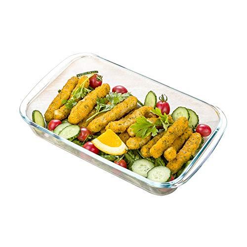 HARVESTFLY Cazuelas de cristal, bandeja rectangular para horno, ensaladas, platos de frutas, de 1 l a 2 l, moldes resistentes al calor hasta 300 °C (1 L)