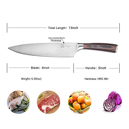 Chef's Knife - PAUDIN Pro Kitchen Knife, 8-Inch Chef's Knife N1 made of German High Carbon Stainless Steel, Ergonomic Handle, Ultra Sharp, The Best Choice for Kitchen & Restaurant