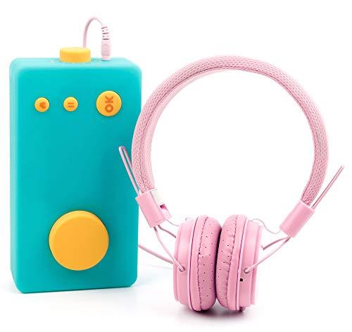 DURAGADGET Casque Rose Enfant Compatible avec Lunii, ma Fabrique à Histoires – Repliable + Microphone intégré