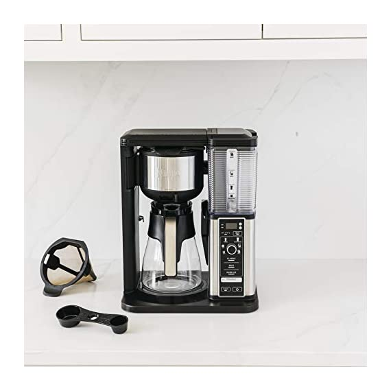 Ninja specialty fold-away frother (cm407) coffee maker, single serve to 10 cup (50 oz. ) 12 specialty brew: brew super rich coffee concentrate that you can use to create delicious lattes, macchiato, cappuccinos, and other coffeehouse style drinks iced coffee: brew fresh over ice for flavorful iced coffee that's never watered down 6 brew sizes: brew anything from a single cup or travel size to a half carafe or a full carafe in your coffee maker