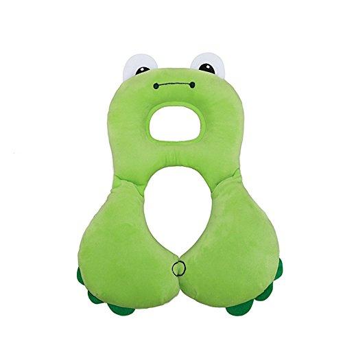 Inchant bebé apoyo para la cabeza y la ayuda del cuello almohada, niño cómodo viaje Cochecito de soporte de la cabeza del coche asiento Almohada (rana verde)