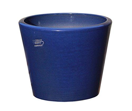Hentschke Keramik Pflanztopf/Pflanzkübel frostsicher Ø 40 x 32 cm, Effekt blau, 342.040.64 Blumenkübel für Draußen + Innen - Made in Germany
