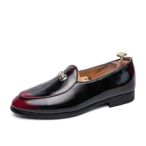 Best-choise Patentes Zapatos Oxford para Hombres Cuero de la PU Vestido de Negocios Banquete Citas Moda Mocasines Dos Tonos Slip-on Flat Antideslizante Punta Redonda Llamativo