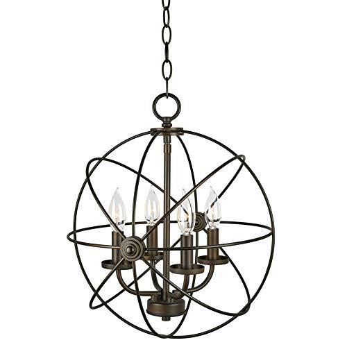 """Kira Home Orbits II 15"""" 4-Light Modern Sphere/Orb Chandelier, Oil-Rubbed Bronze Finish"""