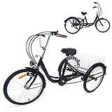Fetcoi Dreirad Für Erwachsene 24 Zoll,3 Rad Fahrrad Dreirad mit Einkaufskorb und Licht,Dreirad Trike Bike Radfahren Erwachsenendreirad Dreirad Trike Bike für Erwachsene und Senioren