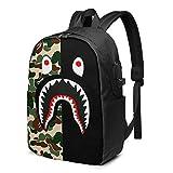Sac à dos pliable pour homme et femme avec port de charge USB, sac de travail durable grande capacité, sac à dos pour la randonnée en plein air, les affaires, camouflage B-A-pe Shark Art