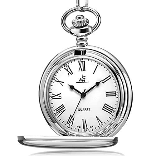 JR2021FF Relojes Fob Reloj de Bolsillo de Cuarzo Retro clásico de 1.9 Pulgadas Flip Doble Regalo Digital para Hombres de Mediana Edad y Ancianos Reloj de Bolsillo de Cuarzo (Color : Roman Numerals)