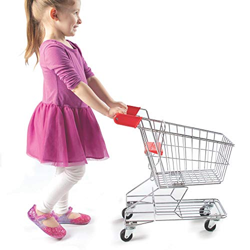 Fat Brain Toys Let's Shop! Stainless Steel Grocery Cart Imaginative Play for Ages 3 to 4