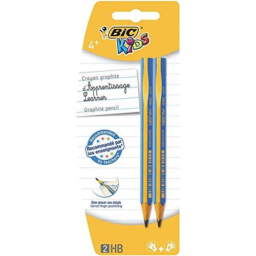 BIC Kids Bleistifte, zum Schreiben Lernen für Links- und Rechtshänder, 2er Pack, ab 4 Jahre, PINK oder BLAU – keine Farbwahl möglich
