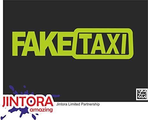 JINTORA Autocollant de Voiture - Faux Taxis - Faketaxi - Fake Taxi - Autocollant de Voiture et décalcomanies - 210x53 mm - JDM - Die Cut - Voiture - vitre - Ordinateur Portable - fenêtre - Chaux