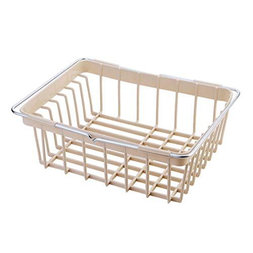 Liyanjin Küchenaufbewahrung, erweiterbares Abtropfgestell aus Kunststoff für Küchenspüle, zum Trocknen von Obst und Gemüse (34 x 23 x 12 cm) #1