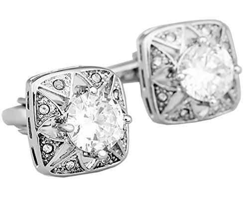Gudeke Boutons de manchette en cristal de zircon en métal (blanc)