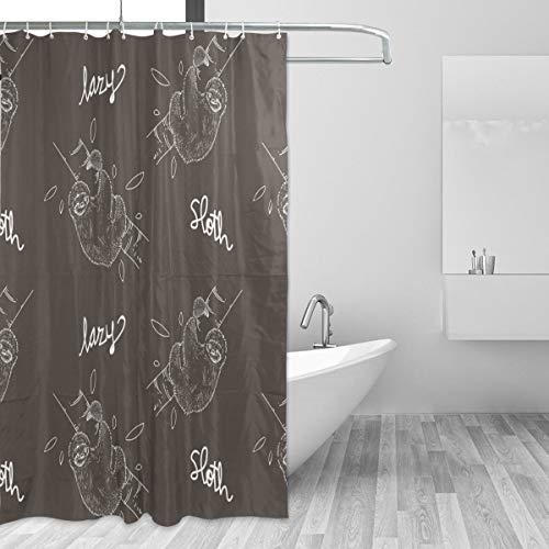 FANTAZIO Duschvorhang schönes Faultier Polyester Badvorhang mit dicken C-förmigen Haken für Badezimmer wasserdicht langlebig und super wasserdicht 167,6 x 182,9 cm
