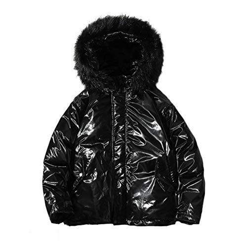 Los hombres de invierno acolchada chaqueta con capucha metálica, for hombre abajo Puffer Jacket, invierno acolchada chaqueta de bombardero de la cremallera Parkas en capa Outwear la piel de imitación