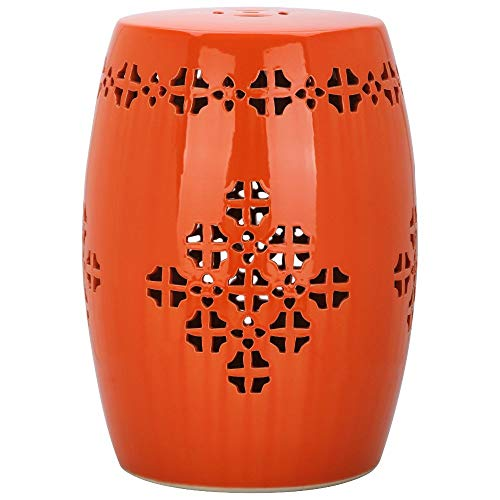 Safavieh ACS4535D Quatrefoil Ceramic Decorative Garden Stool, Orange