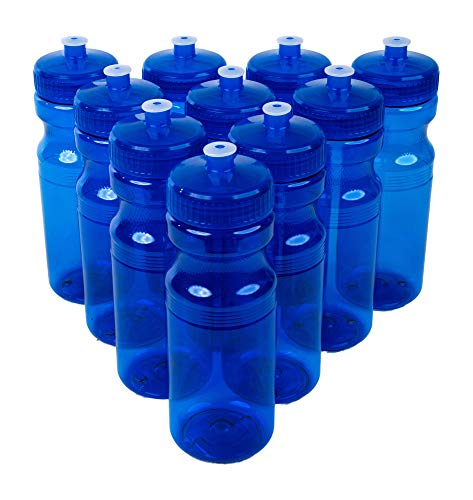 CSBD Clear 24 Oz Sports Water Bottles, 10 Pack, Blank for Customized Branding, No BPA Food Grade Plastic for Fitness, Hiking, Cycling, or Gym Workouts, Made in USA (24 Ounces, Blue)