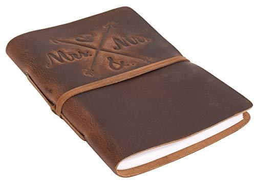 Libreta Gusti de cuero-'Wedding' diario de viaje Bullet Journal Cuaderno de dibujo sin forro A5 correa de cuero marrón