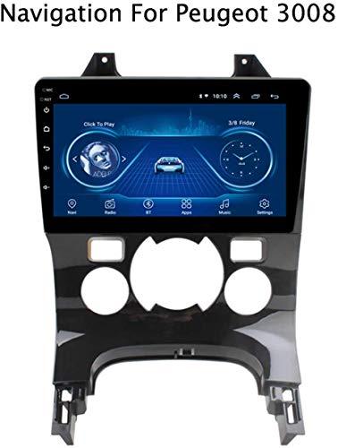 DUMXY Navegación GPS para Peugeot 3008 2013-2018 Canbus/Am/FM/AUX/USB/Manos Libres Bluetooth/Mirrorlink/Mandos en Volante Automóvil Android 2.5D HD Touchscreen Auto Radio