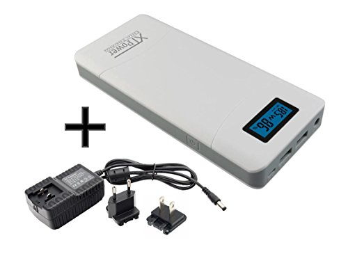 XTPower XT-16000QC2 PowerBank incl. Power Adapter - Modern DC + USB Battery Pack with 15600mAh - 1x USB, 1x USB QC2 and DC Connection with 12 to 24V 65W - for Laptop, Tablet, iPhone, Galaxy