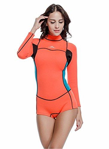 CaptainSwim Damen Eins Stück Badeanzug 2mm Neopren Neoprenanzüge Warm Langärmelig Bescheiden Bademode (Int'l-S Höhe: 155-162cm, Orange)