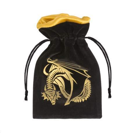 Q Workshop Dragon Black & Golden Velour Dice Bag