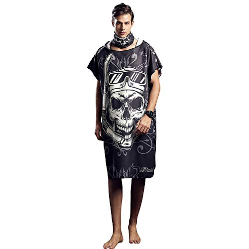Toalla poncho cambiante con capucha para surfear, natación, traje de neopreno, compacto y ligero, talla única