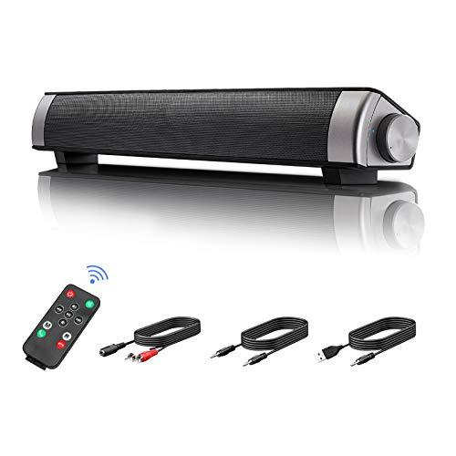 Altavoces de barra de sonido, Intsun Dual Subwoofer PC barra de sonido portátil y alimentado por USB Mini TV barra de sonido con...