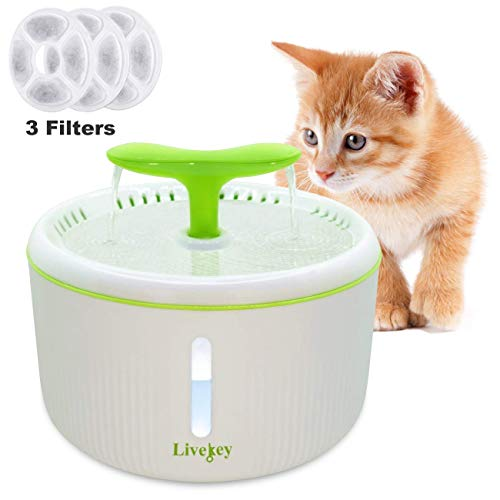 LIVEKEY Cat Water Fountain, 2L Automatic Pet Water Fountain Dog Water Dispenser with Water Level Window and 3 Filters, for Cats, and Small to Medium Dogs