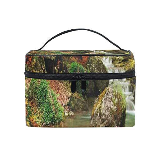 Kosmetiktasche Autumn Creek Woods Mit Gelben Bäumen Kosmetiktasche Tragbare Große Kulturbeutel für Frauen/Mädchen Reisen