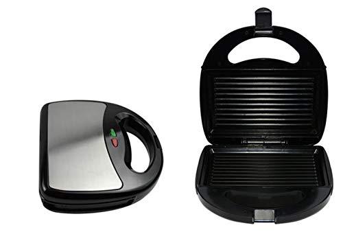 NAFE Sandwichera eléctrica, tostadora de Rayas Máquina de Desayuno para el hogar Parrilla de Acero Inoxidable 220V, 750W,Sandwicheras