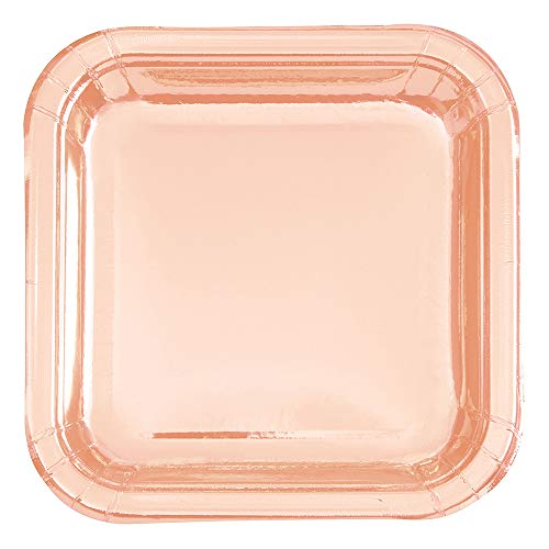 Unique UK 53455 Square Dinner Plates-9' | Foil Board | Rose Gold | 8 Pcs