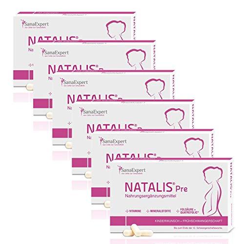 PACK 6 | SanaExpert Natalis Pre | INTEGRATORE PER LA FERTILITA' E INIZIO GRAVIDANZA | con acido folico, Quatrefolic, ferro e vitamine (180 capsule). Ingredienti vegani 100% naturali.