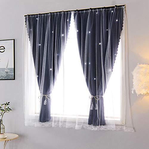 BOLO Linen Effect Eyelets Sheer Curtains Home Decorative Voile Curtains Embroidered Net Curtains for,0.9x1.0M