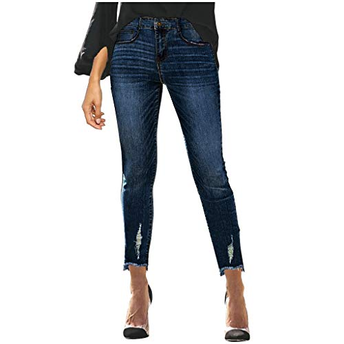 Damen Stretch Slim Pants Wadenlange Jeans Mid Waist Skinny Hole Denim Jeans