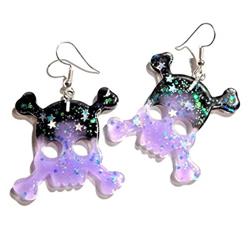 Purple & Black Glitter Kitschy Skull Earrings on Hypoallergenic French Ear Hooks