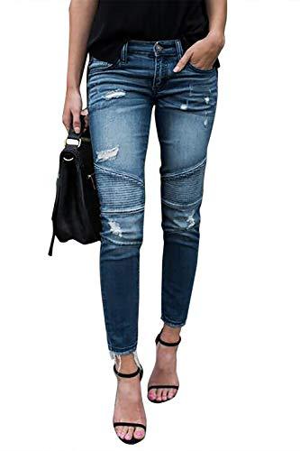 Yidarton Jeans Damen Jeanshosen Röhrenjeans Skinny Slim Fit Stretch Stylische Boyfriend Jeans Zerrissene Destroyed Jeans Hose mit Löchern Lässig (Hellblau, X-Large)