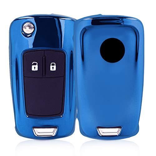 kwmobile Autoschlüssel Hülle kompatibel mit Opel Vauxhall 2-3-Tasten Klappschlüssel Autoschlüssel - TPU Schutzhülle Schlüsselhülle Cover in Hochglanz Blau