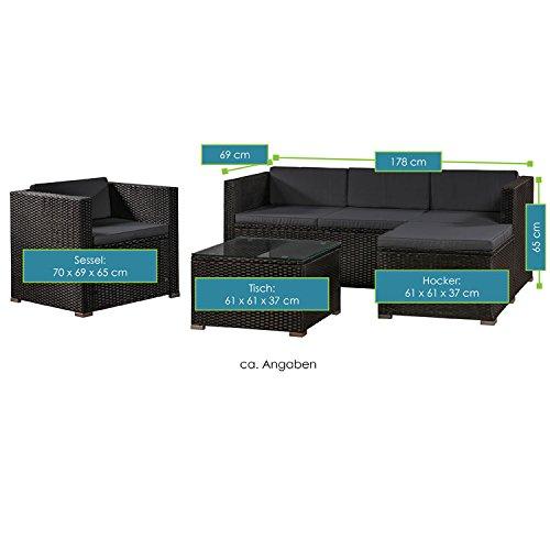 ArtLife Polyrattan Lounge Punta Cana L schwarz mit Bezügen in Dunkelgrau | Gartenmöbel-Set mit Sofa, Hocker und Tisch für 4-5 Personen - 7