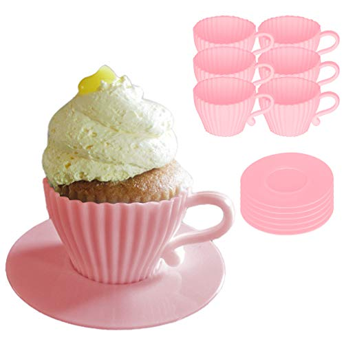 Evelots Baking Cupcake Teacup Set-Oven Safe Silicone-W/Saucers-2 Colors-Set/12