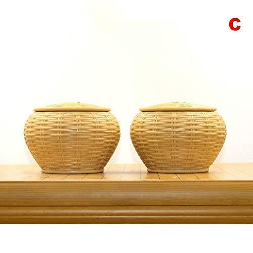 2 Stuks Houten Go Cans, Fles Hout Go-spel Schaken Weiqi Storage Weiqi Doos, Bamboe Schaken Vak (Color : C)