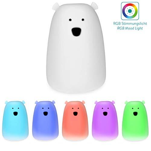 Navaris LED Nachtlicht Bär Design - Micro USB Kabel - Süße RGB Farbwechsel Nachttischlampe für Kinder - Bärchen Kinderzimmer Schlummerlicht Weiß