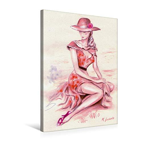 CALVENDO Premium Textil-Leinwand 50 cm x 75 cm hoch, Träumende Lady mit Hut | Wandbild, Bild auf Keilrahmen, Fertigbild auf echter Leinwand, Leinwanddruck: im Retrostil Menschen Menschen