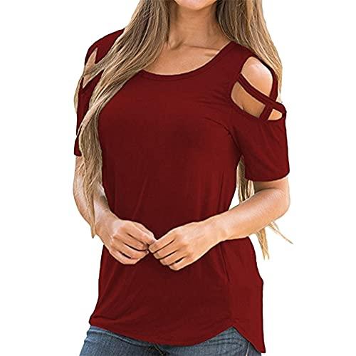 Verano para Mujer Cuello Redondo Camisetas con Hombros Descubiertos Túnica Delgada Tops Casual con Tiras Blusa Mujeres Sexy Hombros fríos Blusas de Encaje Blusas de Manga Corta Casuales Tops fríos