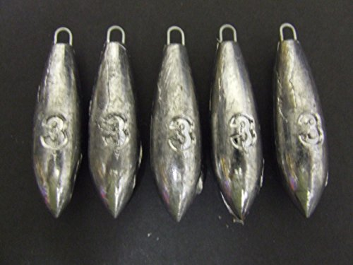 FFT PRO 3oz Plain Sea Fishing Weights Pack Of 5 10 Mackerel Feather Cod Bass Boat Fishing (5 x 3oz)