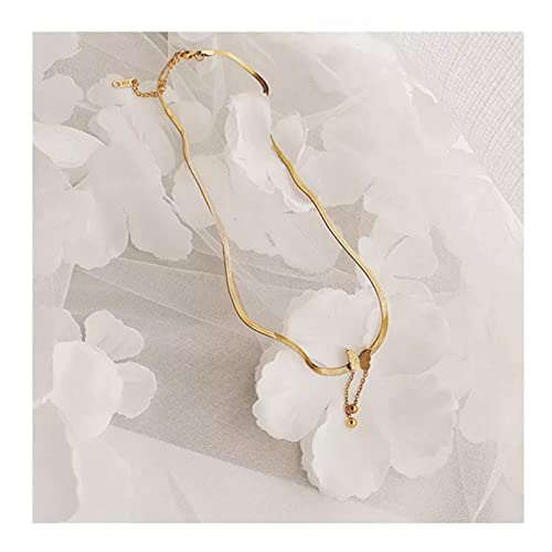 QiuYueShangMao Colgante de Collar Collar de Mariposa de Acero de Titanio con Personalidad de Moda para Mujer Colgante de Color Dorado Cadena de clavícula Accesorios de joyería Regalo Regalo para Ella